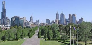 """Melbourne CBD (View from the top of Shrine of Remembrance)"" by Donaldytong"