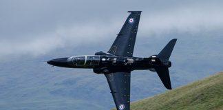 RAF Hawk T2 trainer doing low level flying training