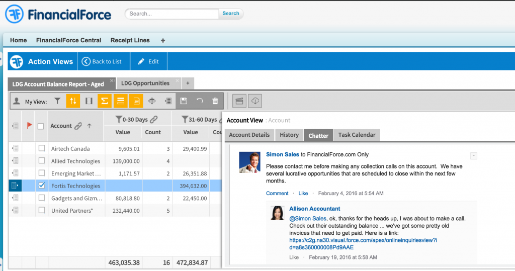 FinancialForce - User screen integrated with Chatter (Source FinancialForce)