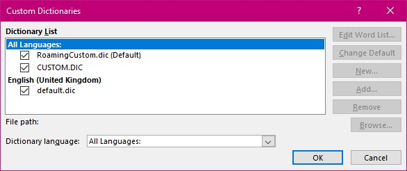 Tips – Creating and editing the custom dictionary in Word -