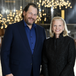 Salesforce Chairman and CEO, Marc Benioff and IBM Chairman, President and CEO Ginni Rometty announced a global strategic partnership to deliver joint artificial intelligence solutions that will enable companies to make smarter decisions, faster than ever before. (Photo Credit: Jon Simon/Feature Photo Service for IBM)