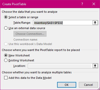 Pivot Table Dialog box