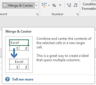 merge and centre tool