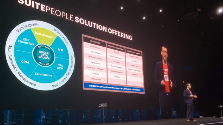 Joseph Fung on stage at Suiteworld talks about SuitePeople (Oracle Netsuite)
