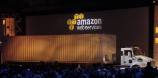 AWS Snowmobile on stage (Image credit AWS)