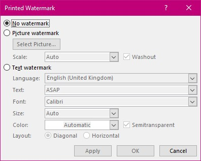 Printed Watermark Dialog Box