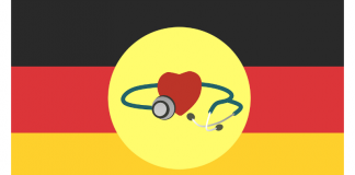 Germany Flag with Healthcare IMage credit PIxabay/Mohamed1982eg & Isakarakus
