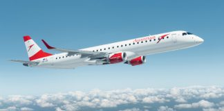 Austrian Airlines Embraer 195 (OE-LWI) By Austrian Airlines from Austria (Austrian E195) [CC BY-SA 2.0 (https://creativecommons.org/licenses/by-sa/2.0)], via Wikimedia Commons