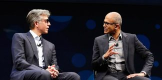 SAP CEO Bill McDermott (left) and Microsoft CEO Satya Nadella (right) on stage at SAPPHIRE NOW in 2016 (Image credit SAP)