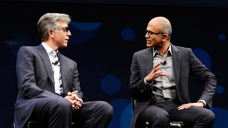 SAP CEO Bill McDermott and Microsoft CEO Satya Nadella on stage at SAPPHIRE NOW in 2016