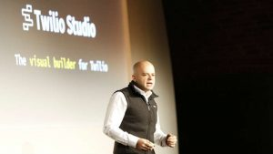 Jeff Lawson, CEO Twilio announcing Twilio Studio (Image credit Twilio 2017)