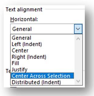 Centre Across Selection Option