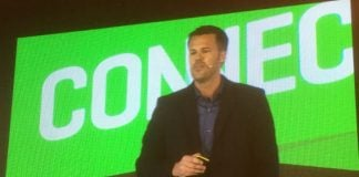 Rich Preece on stage at QBConnect (Image credit S Brooks)