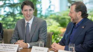 Prime Minister of Canada Trudeau (L) with Marc Benioff (c) Salesforce 2018
