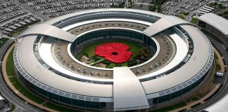 Aerial view of GCHQ's giant poppy