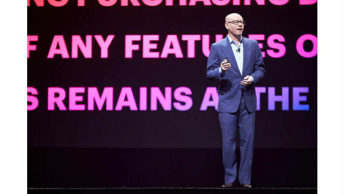 Suiteworld18 Evan Goldberg in keynote Image credit Oracle NetSuite