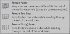 Freeze Panes Options