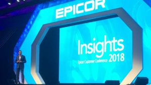 (c) 2018 S Brooks Himanshu Palsule, CTO Epicor on stage at Epicor Insights