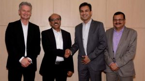 (L–R) Ralph Haupter, Corporate VP & President Asia, Microsoft; Virender Aggarwal, CEO, Ramco Systems, Anant Maheshwari, President, Microsoft India; and, Raghvendra Tripathi, Head – India Operations, Ramco Systems announcing the launch of the joint offering. Image credit Microsoft/Ramco