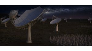 Artist's impression of the full Square Kilometre Array at night (c) 2016 SKA Organisation under CC3.0