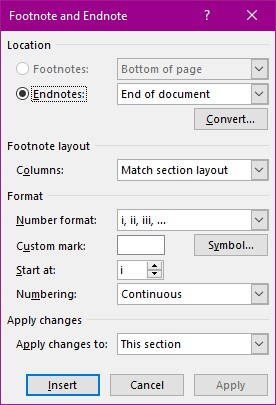 Footnote ans Endnote Dialog box