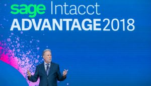 Rob Reid on stage at Sage Intacct Advantage (Image credit: Johnny Cooker) (c) 2018 Sage intacct