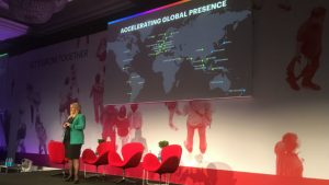 Nicky Tozer, VP EMEA, NetSuite on stage at SuiteConnect London (c) 2018 S Brooks