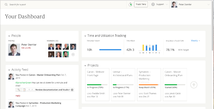 Mavenlink Personal Utilization Manager - screenshot of consultant dashboard (c) 2019 Mavenlink