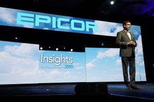 Himanshu Palsule on stage at Epicor Insights 2019 (c) 2019 Epicor