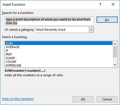 Insert Function List