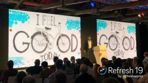 Girish Mathrubootham, CEO , Freshworks on stage at Refresh 19 London (c) Freshworks