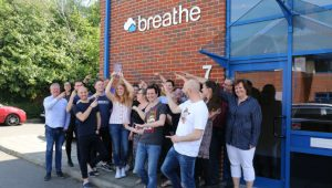 Breathe team celebrate NTA Award (Image credit Breathe)