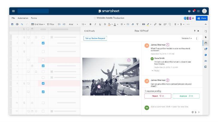 Smartsheet content collaboration screenshot (c) 2019 Smartsheet