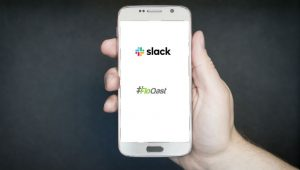Slack and FloQast Logos plus Smartphone Image by TeroVesalainen from Pixabay