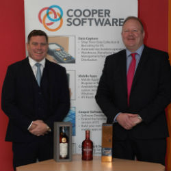 David Stewart, Head of Finance at Gordon & MacPhail and Frank Cooper, Executive Chairman of Cooper Software (Image credit Cooper Software)