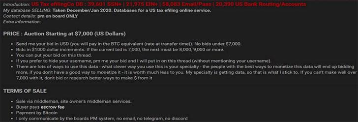 Auction for tax database details (Image Credit: Secureworks)