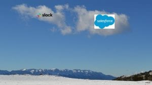 Salesforce and Slack logos with partial image from Image by Jana Martínez from Pixabay