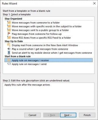 Apply Rule dialog box