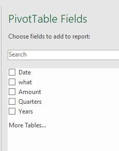 Pivot Table Fields