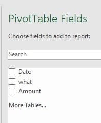 Pivot Table fields 2