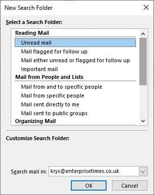 Search folder customize