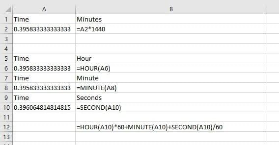 spreadsheet showing formulae