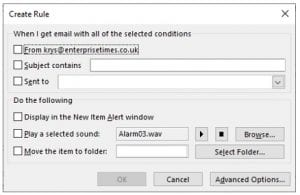 Create rule dialog box