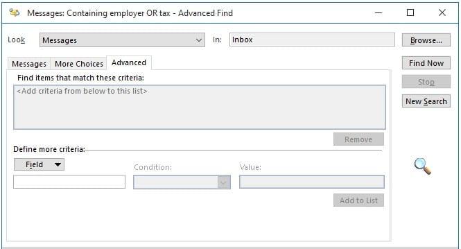 Advanced criteria tab