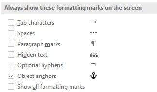 Formatting marks Setting